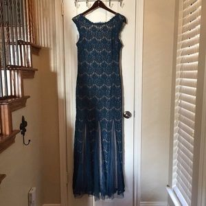 Betsy Adam Teal Lace Prom Dress